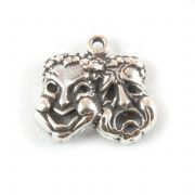 Comedy and Tragedy Masks Sterling Silver Charm